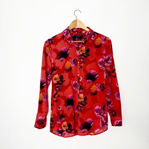 BANANA REPUBLIC silk floral blouse XS